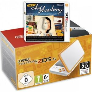 NEW NINTENDO 2DS XL BLANCO NARANJA CONSOLA PORTÁTIL + JUEGO NEW ART ACADEMY 3DS