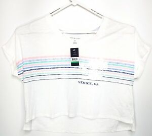 4e009267d86702 NEW Tommy Hilfiger Crop Top T Shirt Womens Size L White Striped ...