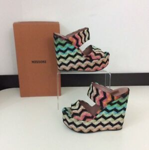 Stripe Excellent Box Uk Size Missoni 4 Shoes Women's Wedge 37 Heels qvp6z