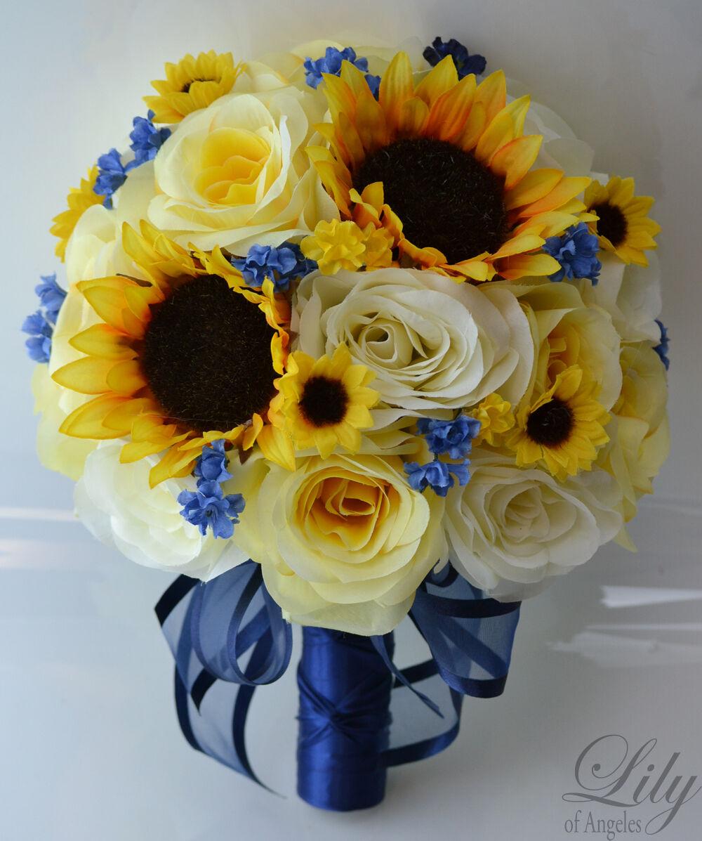 17 Pièces Mariage Bridal Bouquet Rond Tournesol Paquet Décoration Jaune Bleu Marine