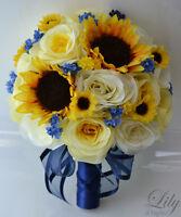 17 Pieces Wedding Bridal Bouquet Round Sunflower Package Decoration Yellow Navy