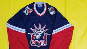 New-York-Rangers-Jersey-Mens-Large-L-retro-STARTER-blue-Lady-liberty