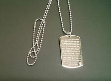 Footprints in the Sand Quotation ~ Engraved Dog Tag Pendant / Necklace on chain