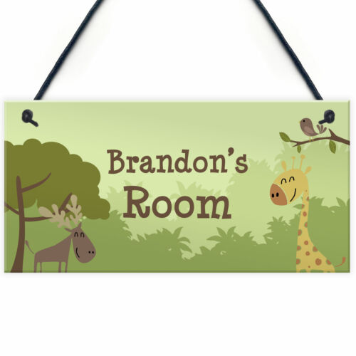 Personalised Boys Girls Bedroom Sign Jungle Theme Bedroom Wall Art Nursery Sign