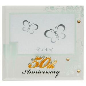 Golden-50-th-Wedding-Anniversary-Glass-Mirror-Photo-Frame-Gift-Boxed