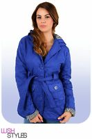 Womens Ladies New Short Quilted Padded Hooded BELT Collared Jacket/Coat UK 8-16