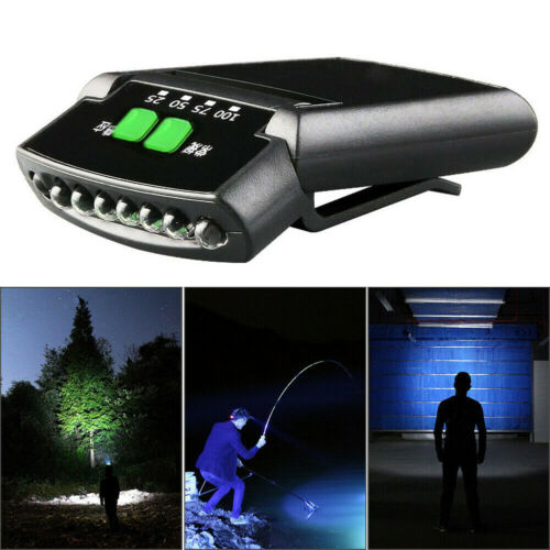Bright 6 Led Head Lamp USB Rechargeable Camping Clip On Hat Battery Display