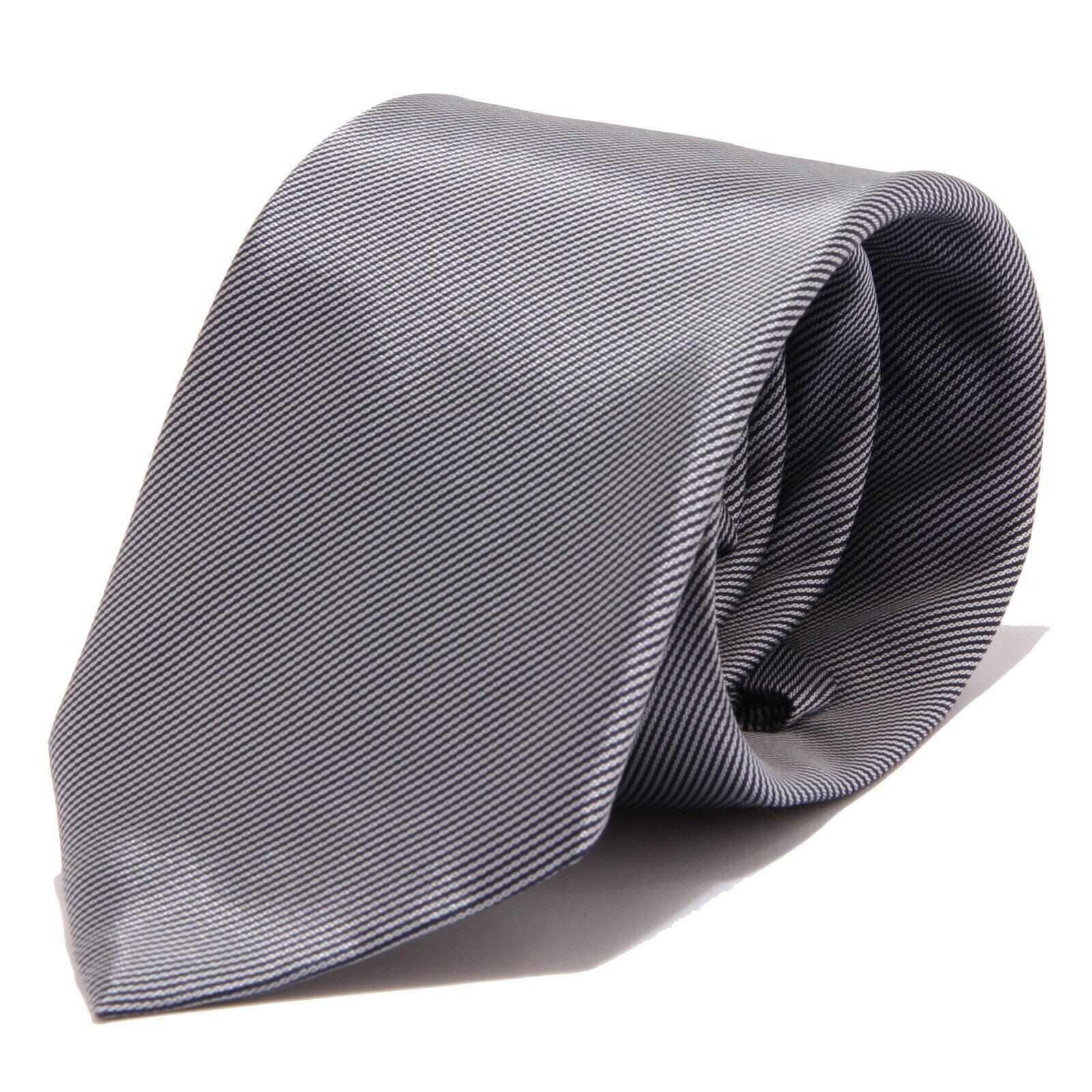 9341J (no label) CRAVATTA uomo no Brand Silver/Black Stripes Silk Tie Men