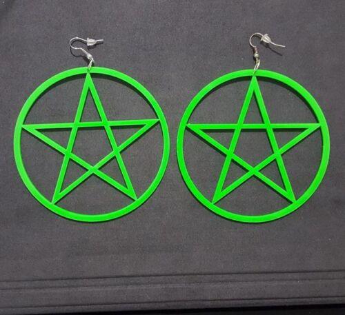 Exaggeration Round Acrylic Pentagram Star Earrings Hoop Ear Hook Studs jewelry