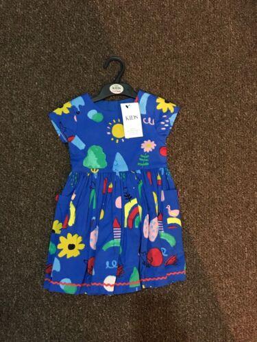 9-12 meses, 1.5-2,2-3 años RRP £ 20 M/&S Puro Algodón Niñas Vestido Impreso Tamaño