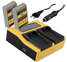 LCD DUAL Ladegerät + 2x Battery Pack Akku BLS-5 BLS-50 f. Olympus Stylus Pen PL