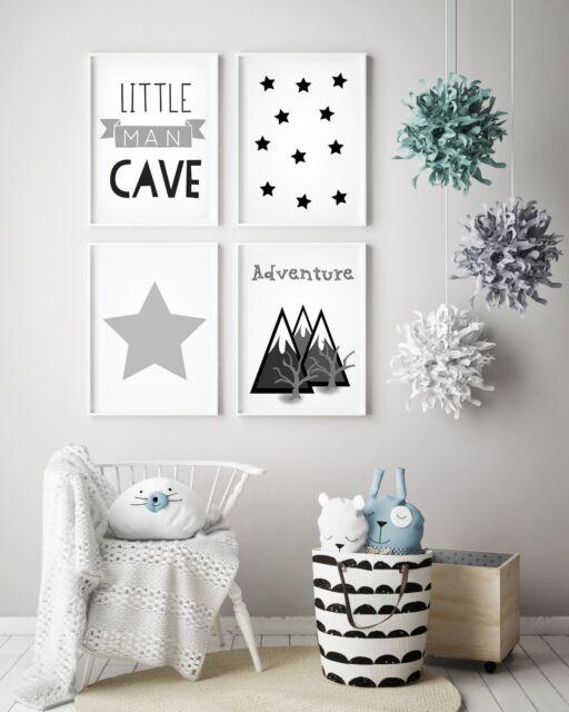 Set Of 4 Little Man Cave Boys Room Kids Nursery Wall Art Prints Grey White