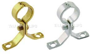 Copper Pipe Clips School Board 2 x 22mm Screw On Bracket Brass or Chrome