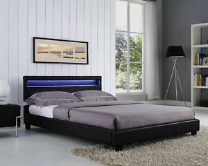 double king size bed frame led headboard night light and mattress