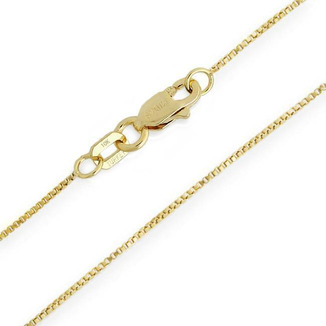 10K Box Chain Yellow gold Pendant Chain .55mm wide 20 inch Lobster Claw Clasp