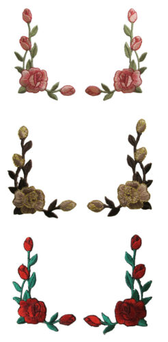 #3964 Lot 2Pcs Rose Flower Embroidery Iron On Applique Patch-Left/&Right