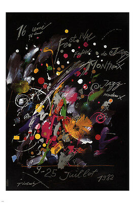 1982 jazz festival montreux poster MODERN ART 24X36 COLORFUL