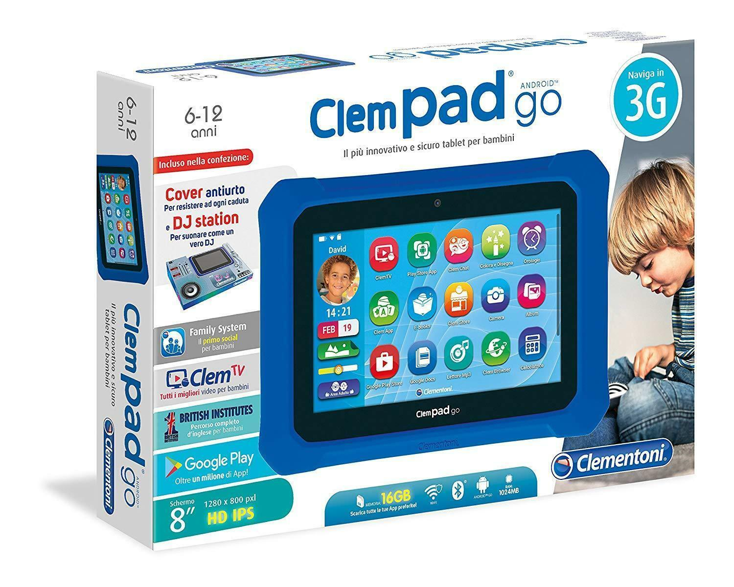 CLEMPAD GO TABLET 8  HD DJ STATION GOOGLE PLAY 3G WIFI bleuTOOTH CLEMENTONI 2018