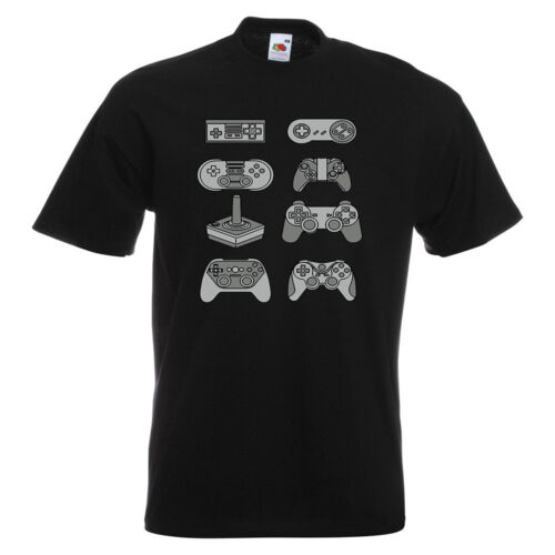 Evolution of Game Controllers PRINTED T-SHIRT Gaming Vintage Retro Modern