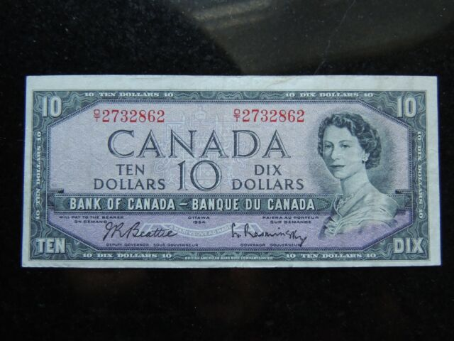 1954 BANK OF CANADA $10 TEN DOLLARS BEATTIE RASMINSKY D/T 2732862 MODIFIED