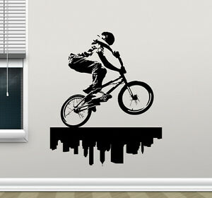 Image is loading Bike-Wall-Decal-BMX-Bicycle-Extreme-Poster-Vinyl- & Bike Wall Decal BMX Bicycle Extreme Poster Vinyl Sticker Art Decor ...