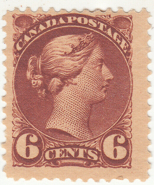 Canada 1870-1894. 6 Cents Queen Victoria. Dark reddish brown. Used. NG