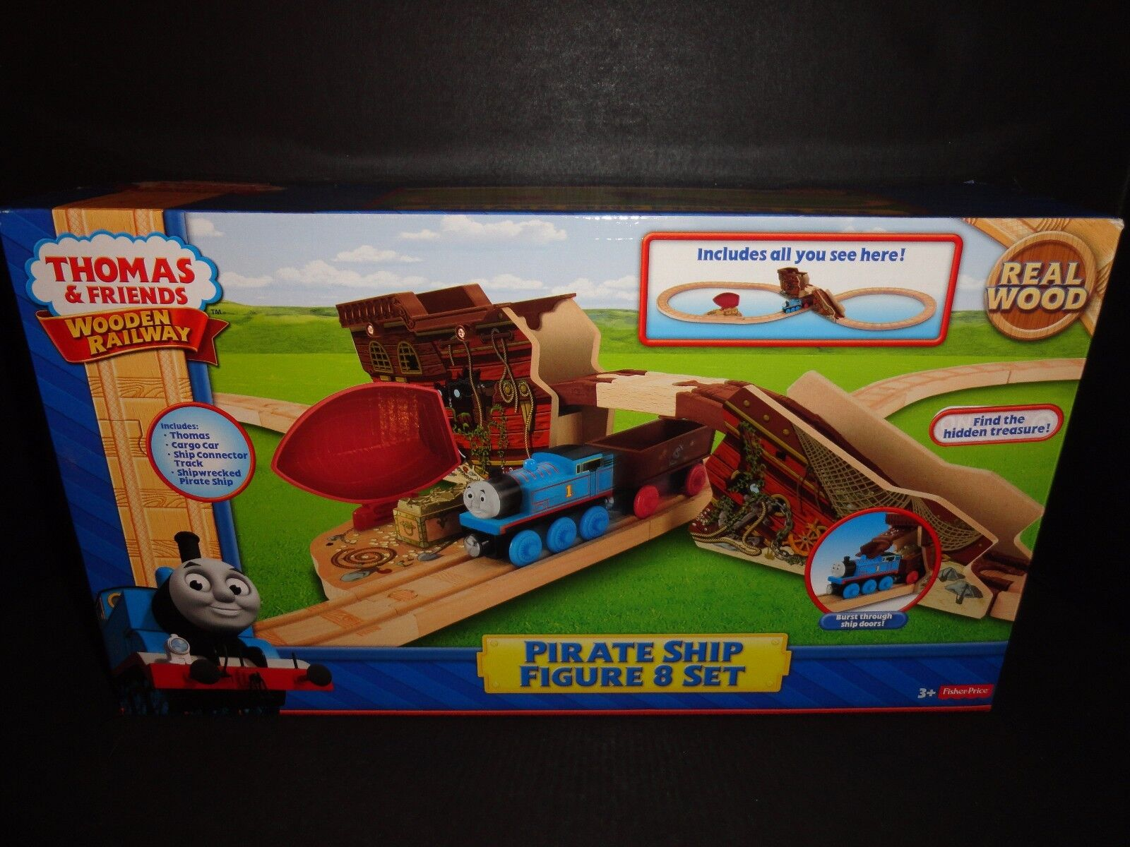 THOMAS AND FRIENDS WOODEN RAILWAY PIRATE SHIP FIGURE 8 SET  NEW