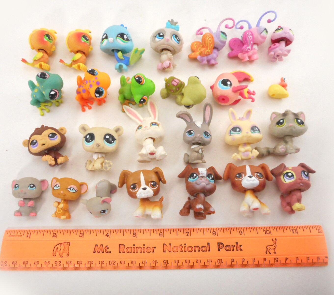 Littlest Pet Shop LOT LOT LOT of 26 Animals  Cat Dogs Birds Frogs Bunnies Bugs Mice etc d2e1cc