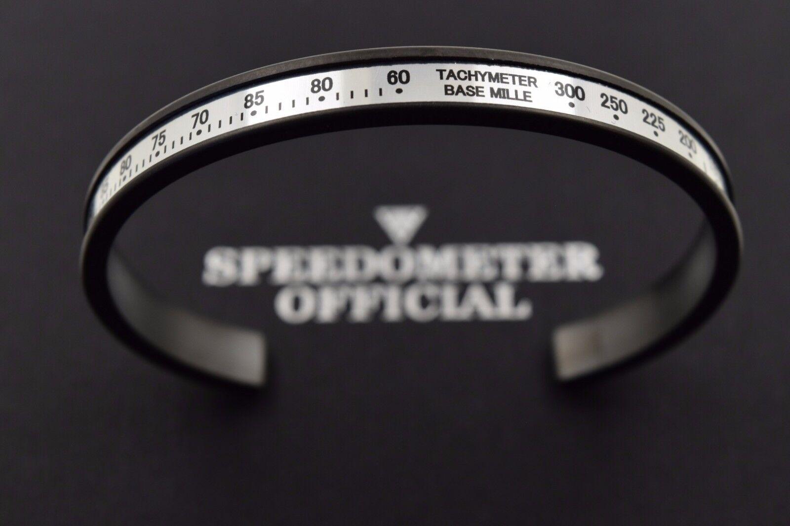 Speedometer Official Nero Dlc Acciaio con Bianco Bianco Bianco Inserto Chrono Bracciale Rigido 5865f0