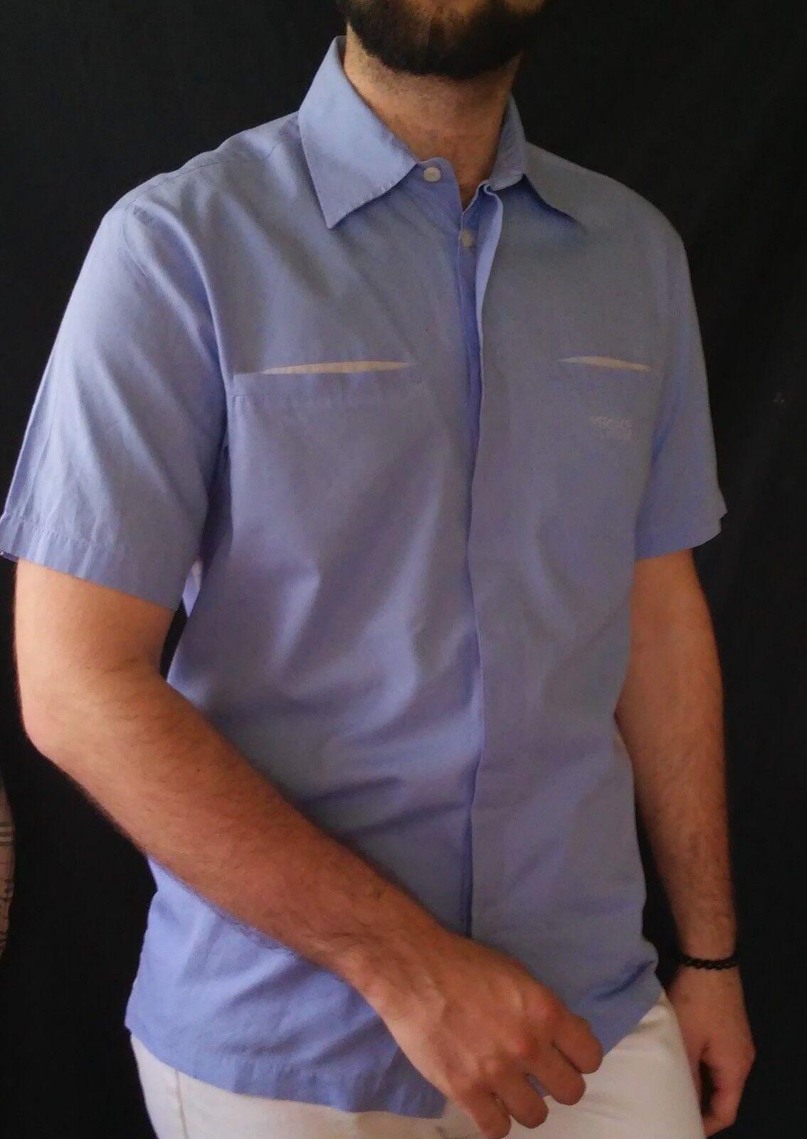 Versace Classic V2 bluee Short Sleeve Designer Shirt  Buttons 15 1 2 39 XL