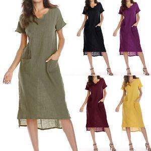 Womens Linen Cotton Summer Loose Long