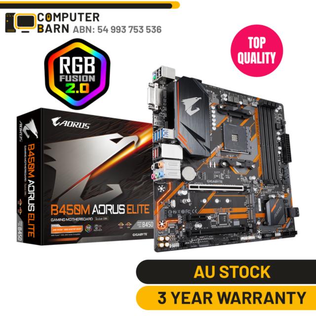 Gigabyte B450 M Aorus Elite Gaming PC Motherboard AMD AM4 Ryzen mATX RGB Fusion