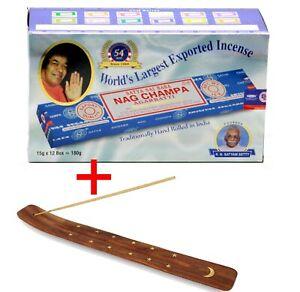 Satya-Sai-Baba-NAG-CHAMPA-Incense-Sticks-Box-x-12-Packs-Agarbathi-FREE-Holder