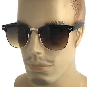 0aab7eff26 Image is loading MENS-Large-Retro-Sunglasses-Classic-Vintage-Style-Gold-