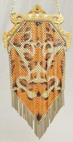 Vintage 1920's Mandalian Enameled Metal Mesh Purse