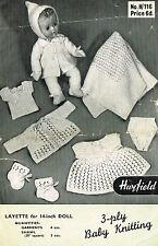 "Dolls clothes knitting pattern 14"" & 16"" Baby doll. Laminated copy. (V Doll 59)"