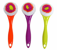 Casabella Round Mesh Scrubber Dish Washing Brush - Orange Purple Or Green