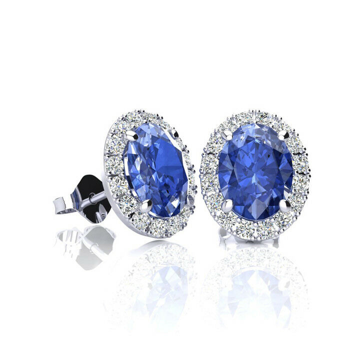 691b42b90d30a CARAT COLORS gold 3 IN EARRINGS DIAMOND HALO AND TANZANITE OVAL 4 1 ...