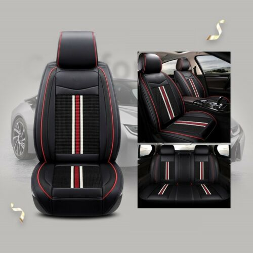 Deluxe Quality Black Full set PU Leather Seat Covers Cushion For Kia Hyundai