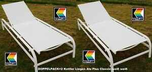 Gartenliege alu kettler  KETTLER GARTENLIEGE ALU PLUS CLASSIC LIEGE WEISS WEISS DOPPELPACK ...
