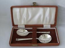 Elegante Boxed Coppia di Solido Sterling Silver JAM / preservare CUCCHIAI 1954 / L 12,5 cm