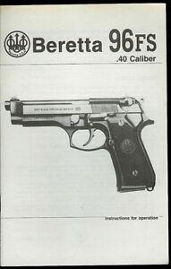 Details about 1992 Beretta Model 96FS  40 Cal Semi-Auto Pistols Vintage  Factory Owner's Manual