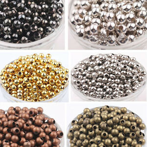4-5-6mm-Metal-Round-Ball-Brass-Loose-Spacer-Beads-Jewelry-Findings-DIY-Crafts