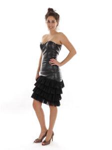 Richard Kravetz Kleid Lederkleid Minikleid schwarz Tüll ...