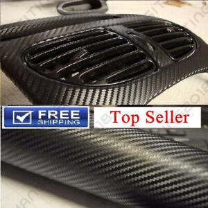 """Premium 12/"""" x 60/"""" 4D Car Carbon Fiber Vinyl Wrap Sticker Roll Black Bubble Free"""