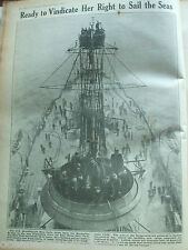 ANTIQUE PRINT 1917 THE WAR ILLUSTRATED READY TO VINDICATE HER RIGHT TO SAIL SEAS