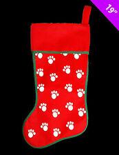 Dog or Cat Christmas Stocking Red  fabric paw print design PET Stocking FREE P&P