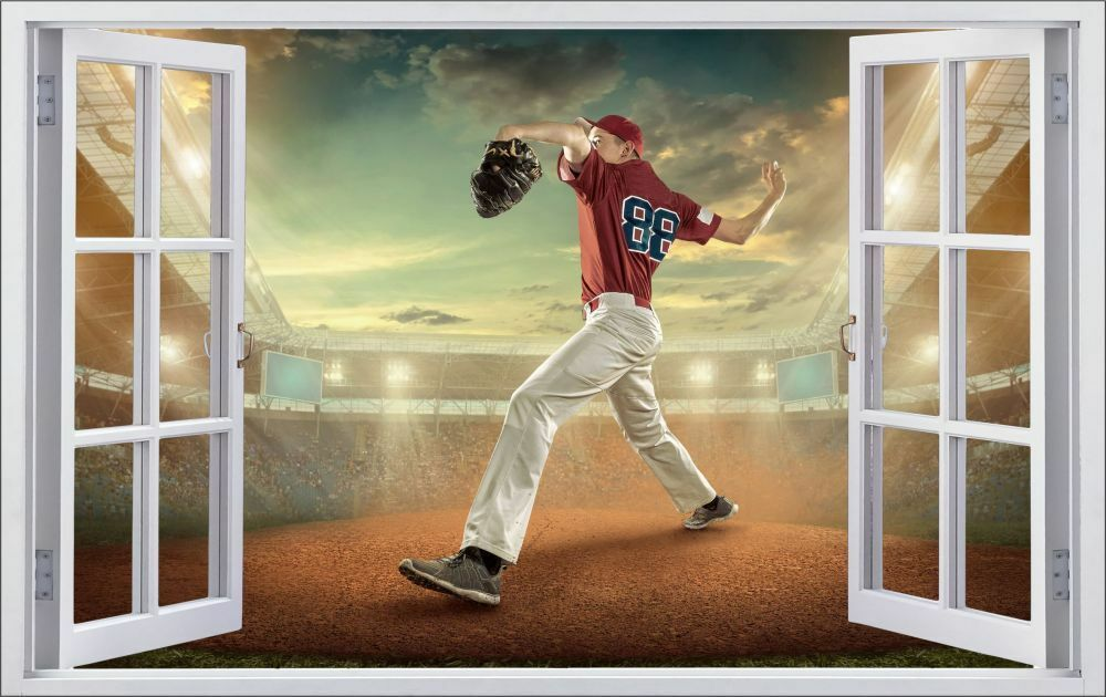Baseball Sport Sport Baseball Stade Mural Sticker Autocollant f0530 b105fc