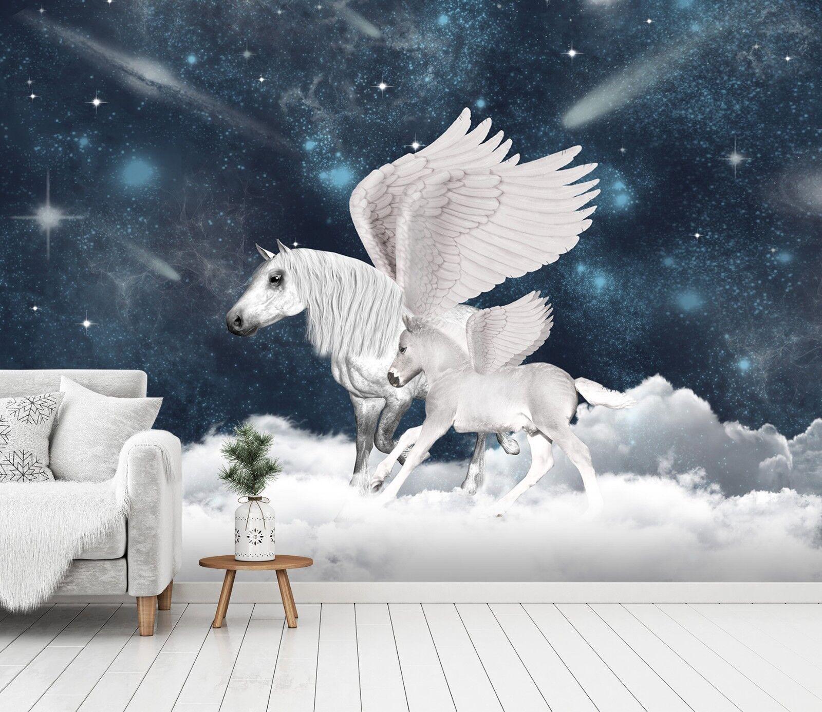 3D Weißes Fliegendes Pferd 23 Tapete Wandgemälde Tapete Tapeten Familie Kinde DE
