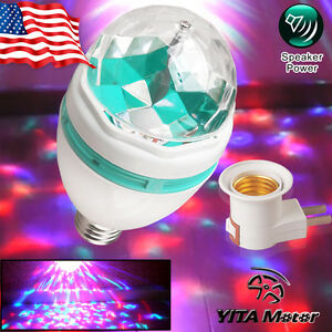 E27 3W RGB Crystal Magic Ball LED Stage Light Club Disco Party + Plug US